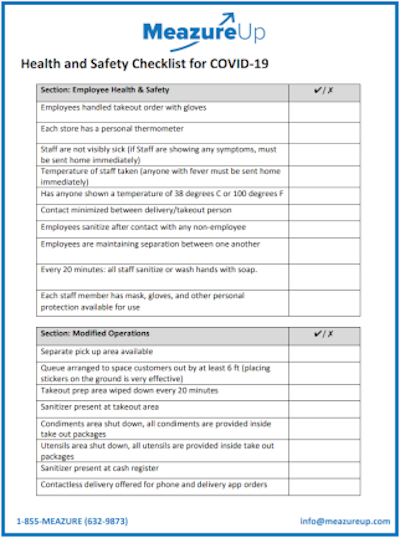 Health and Safety Checklist for COVID-19